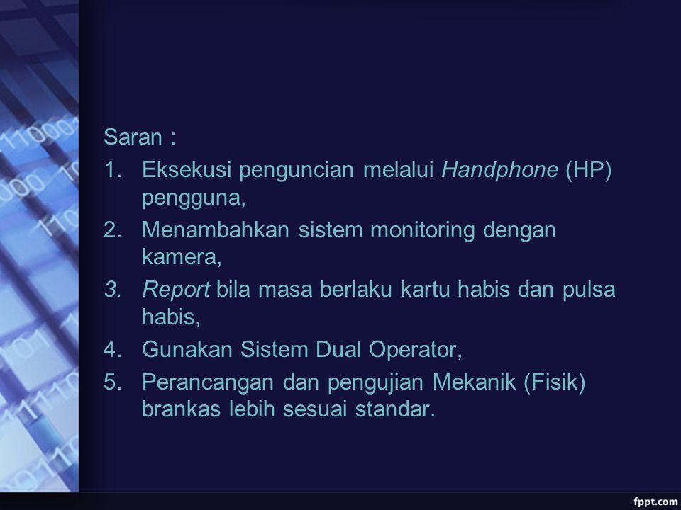 Saran : 1.Eksekusi penguncian melalui Handphone (HP) pengguna, 2.Menambahkan sistem monitoring dengan kamera, 3.Report bila masa berlaku kartu habis d