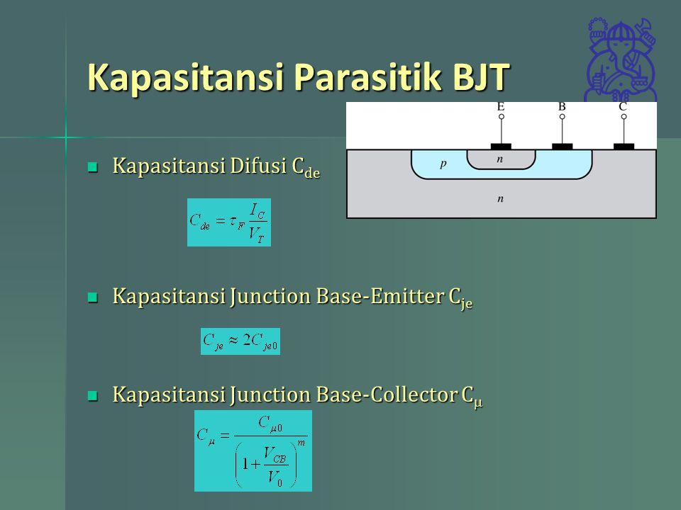 Kapasitansi Parasitik BJT Kapasitansi Difusi C de Kapasitansi Difusi C de Kapasitansi Junction Base-Emitter C je Kapasitansi Junction Base-Emitter C j