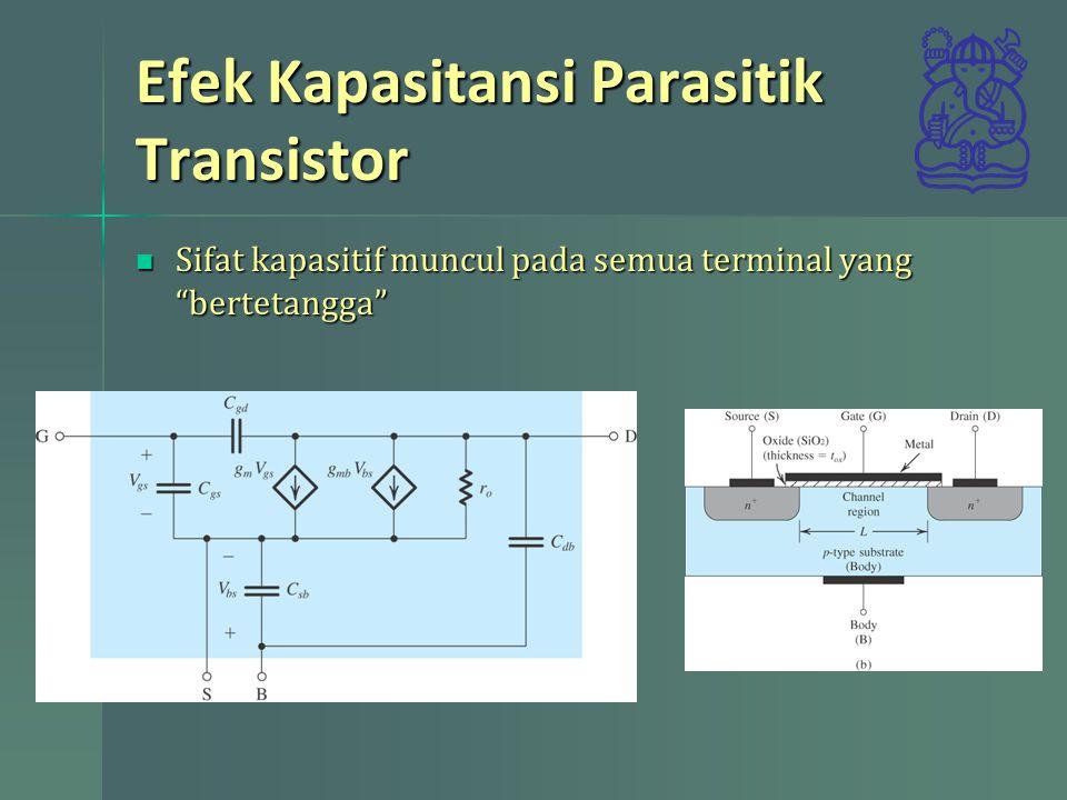 "Efek Kapasitansi Parasitik Transistor Sifat kapasitif muncul pada semua terminal yang ""bertetangga"" Sifat kapasitif muncul pada semua terminal yang ""b"
