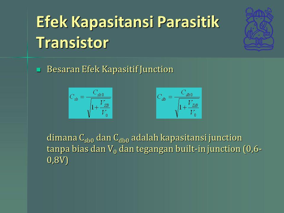 Efek Kapasitansi Parasitik Transistor Besaran Efek Kapasitif Junction dimana C sb0 dan C db0 adalah kapasitansi junction tanpa bias dan V 0 dan tegang