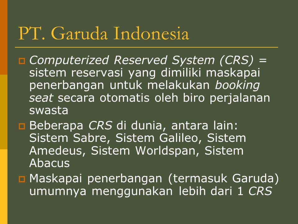 PT. Garuda Indonesia  Computerized Reserved System (CRS) = sistem reservasi yang dimiliki maskapai penerbangan untuk melakukan booking seat secara ot