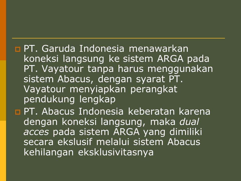  PT.Garuda Indonesia menawarkan koneksi langsung ke sistem ARGA pada PT.
