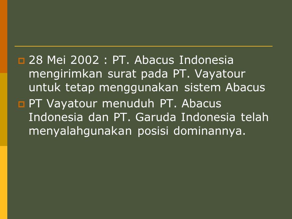  28 Mei 2002 : PT.Abacus Indonesia mengirimkan surat pada PT.
