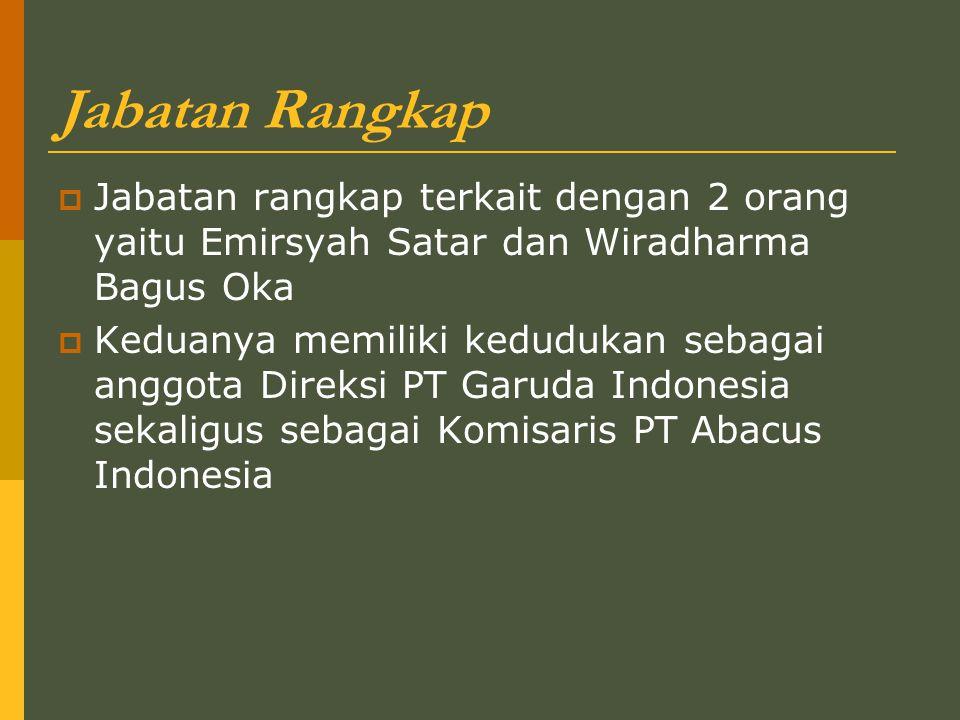 Jabatan Rangkap  Jabatan rangkap terkait dengan 2 orang yaitu Emirsyah Satar dan Wiradharma Bagus Oka  Keduanya memiliki kedudukan sebagai anggota Direksi PT Garuda Indonesia sekaligus sebagai Komisaris PT Abacus Indonesia