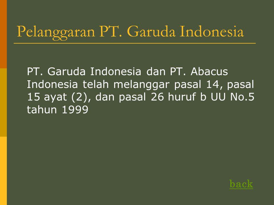 Pelanggaran PT.Garuda Indonesia PT. Garuda Indonesia dan PT.
