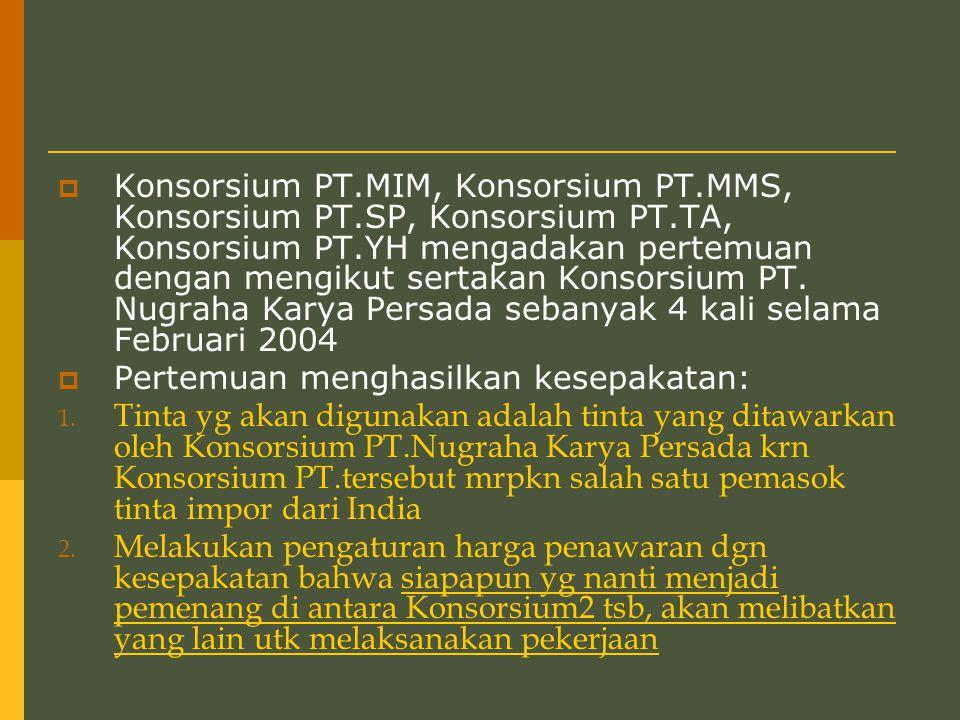  Konsorsium PT.MIM, Konsorsium PT.MMS, Konsorsium PT.SP, Konsorsium PT.TA, Konsorsium PT.YH mengadakan pertemuan dengan mengikut sertakan Konsorsium PT.