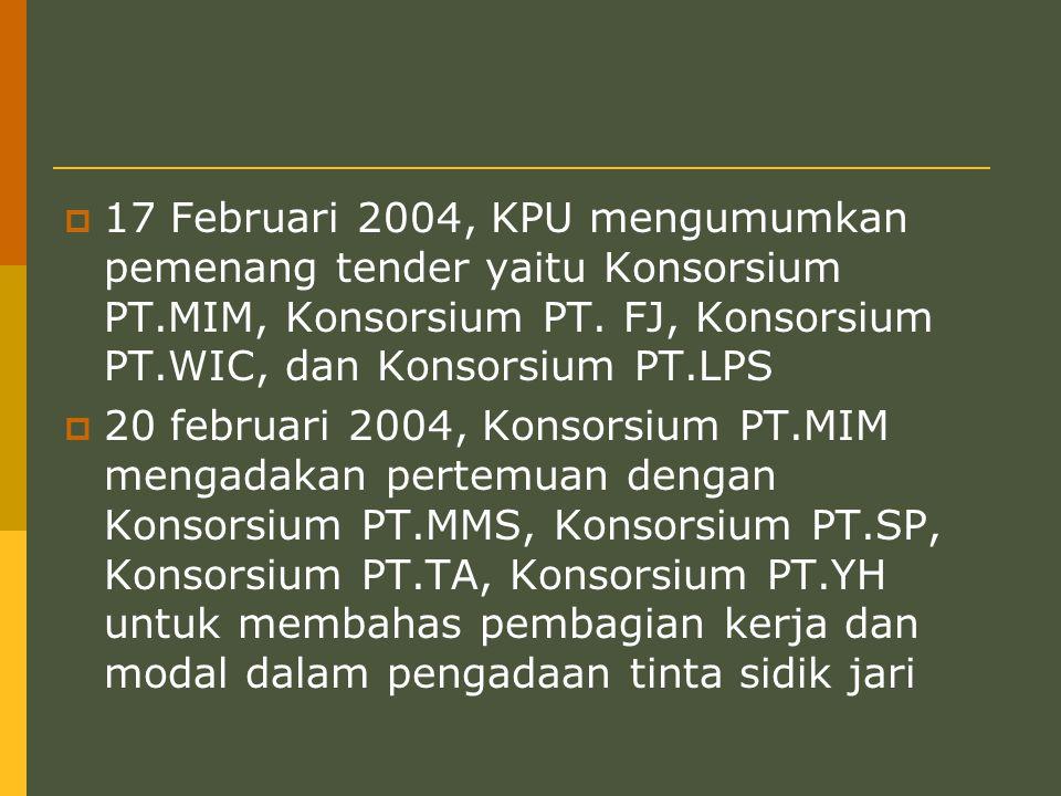  17 Februari 2004, KPU mengumumkan pemenang tender yaitu Konsorsium PT.MIM, Konsorsium PT.