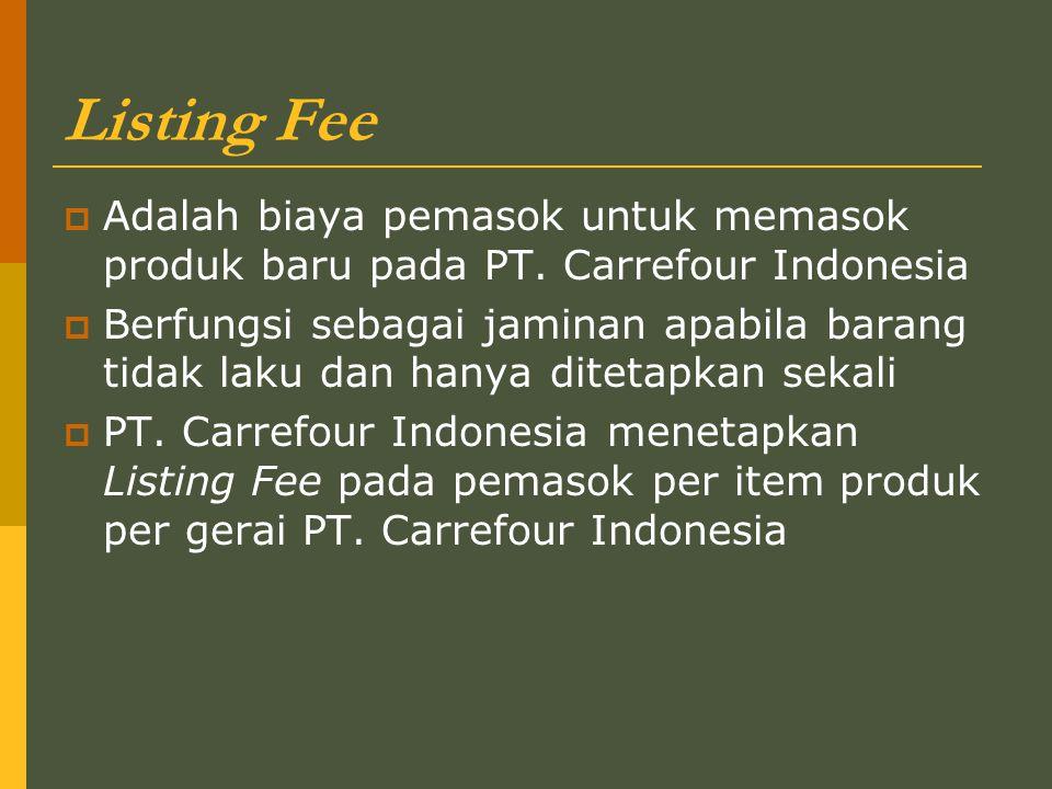 Listing Fee  Adalah biaya pemasok untuk memasok produk baru pada PT.
