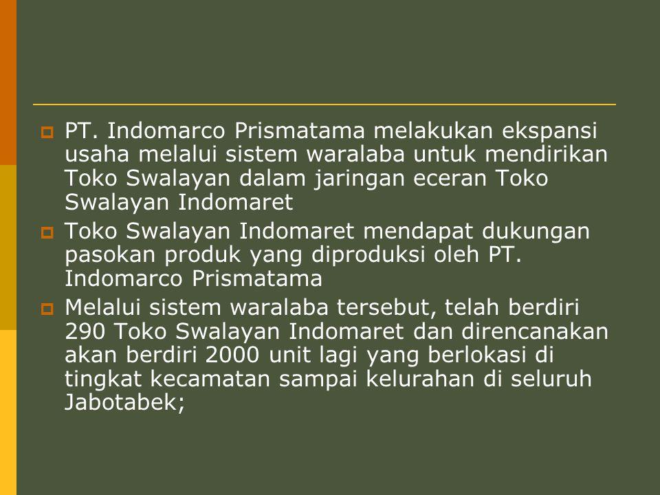  PT. Indomarco Prismatama melakukan ekspansi usaha melalui sistem waralaba untuk mendirikan Toko Swalayan dalam jaringan eceran Toko Swalayan Indomar