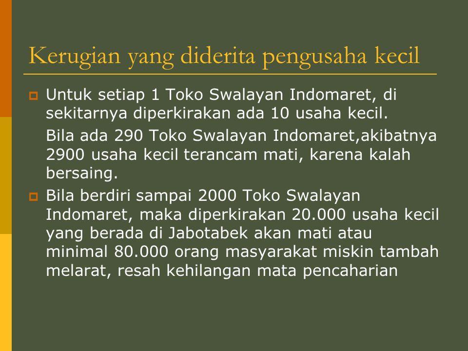 Kerugian yang diderita pengusaha kecil  Untuk setiap 1 Toko Swalayan Indomaret, di sekitarnya diperkirakan ada 10 usaha kecil.