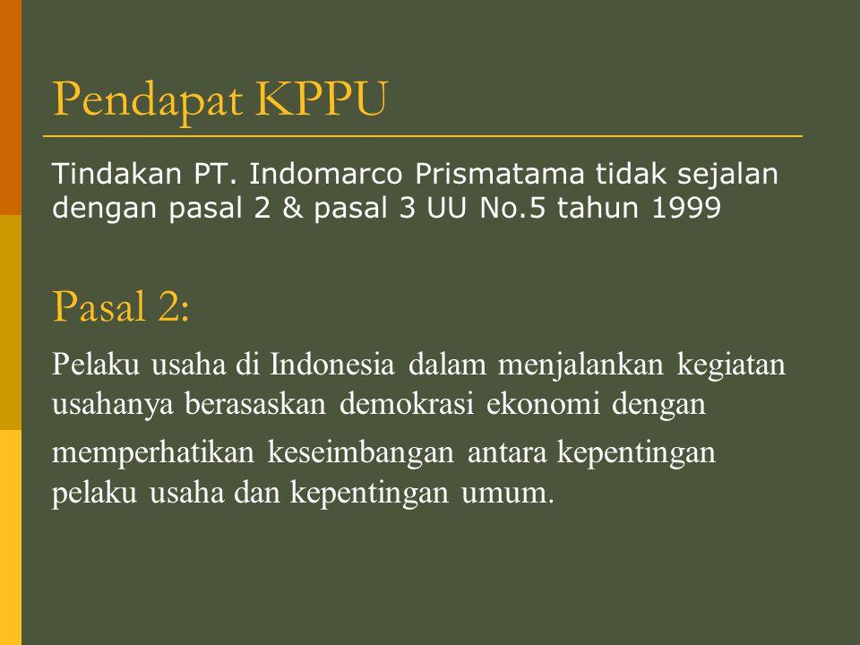 Pendapat KPPU Tindakan PT.