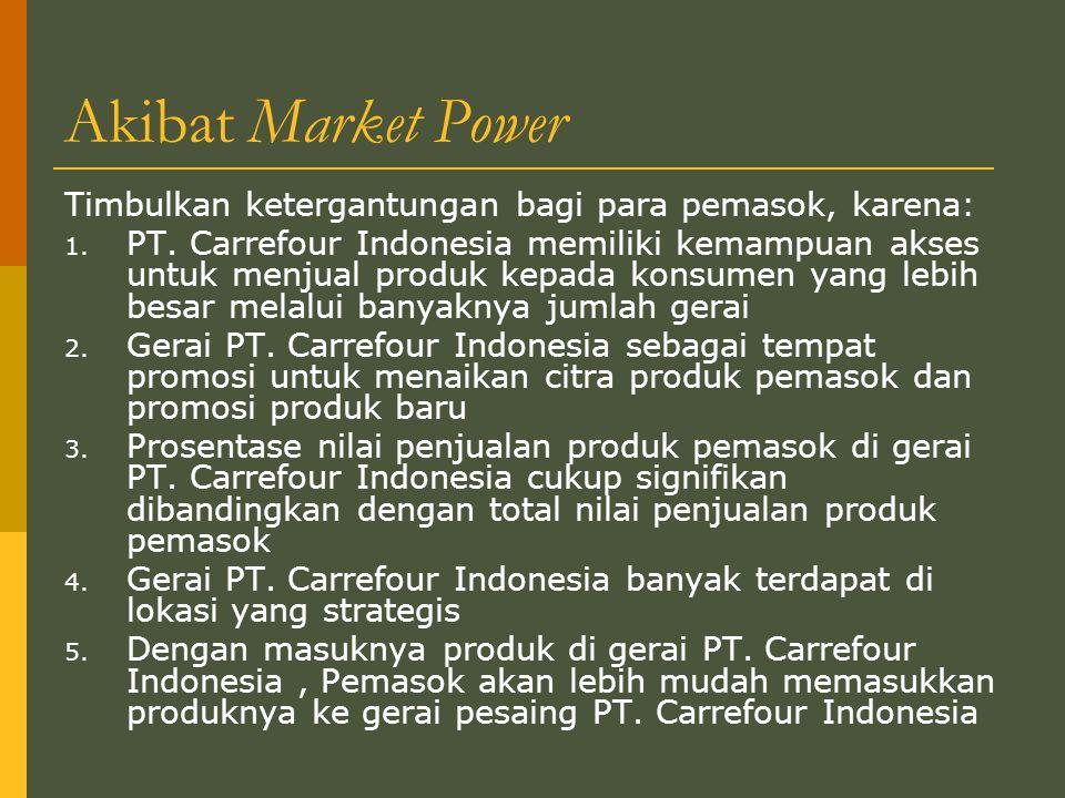 Akibat Market Power Timbulkan ketergantungan bagi para pemasok, karena: 1.