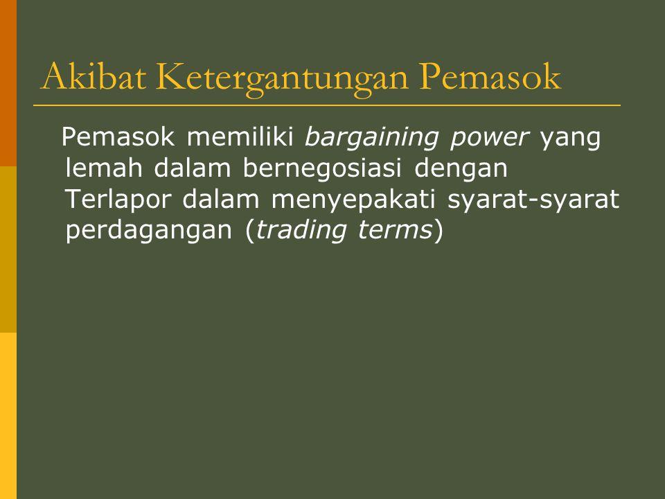 Akibat Ketergantungan Pemasok Pemasok memiliki bargaining power yang lemah dalam bernegosiasi dengan Terlapor dalam menyepakati syarat-syarat perdagangan (trading terms)