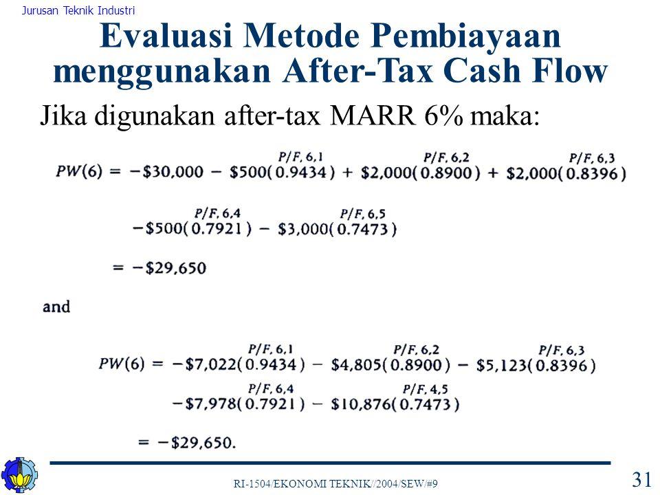 RI-1504/EKONOMI TEKNIK//2004/SEW/#9 Jurusan Teknik Industri 31 Evaluasi Metode Pembiayaan menggunakan After-Tax Cash Flow Jika digunakan after-tax MARR 6% maka: