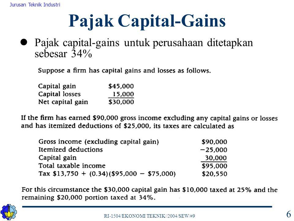 RI-1504/EKONOMI TEKNIK//2004/SEW/#9 Jurusan Teknik Industri 6 Pajak capital-gains untuk perusahaan ditetapkan sebesar 34% Pajak Capital-Gains