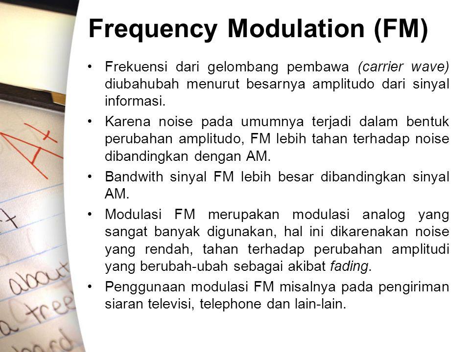 Frequency Modulation (FM) Frekuensi dari gelombang pembawa (carrier wave) diubahubah menurut besarnya amplitudo dari sinyal informasi. Karena noise pa