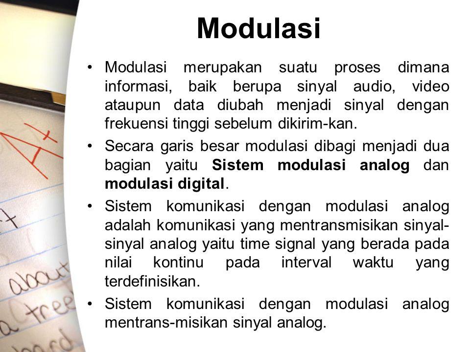 Modulasi Modulasi merupakan suatu proses dimana informasi, baik berupa sinyal audio, video ataupun data diubah menjadi sinyal dengan frekuensi tinggi