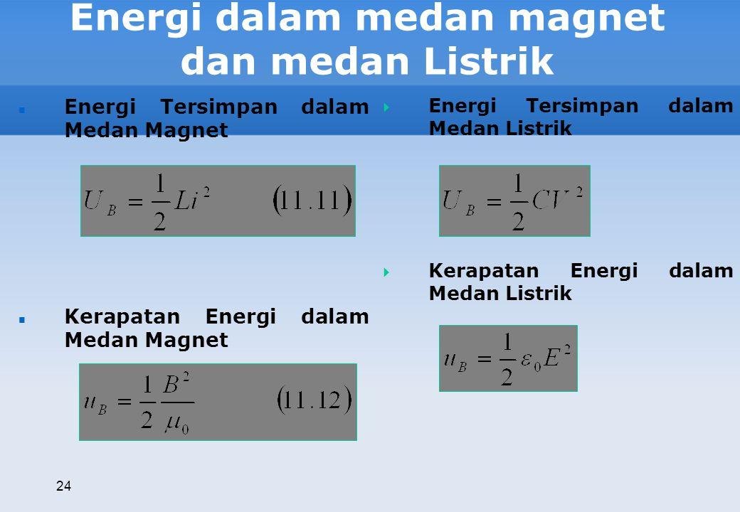 Energi dalam medan magnet dan medan Listrik 24 Energi Tersimpan dalam Medan Magnet Kerapatan Energi dalam Medan Magnet  Energi Tersimpan dalam Medan