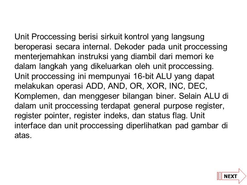 NEXT Unit Proccessing berisi sirkuit kontrol yang langsung beroperasi secara internal. Dekoder pada unit proccessing menterjemahkan instruksi yang dia