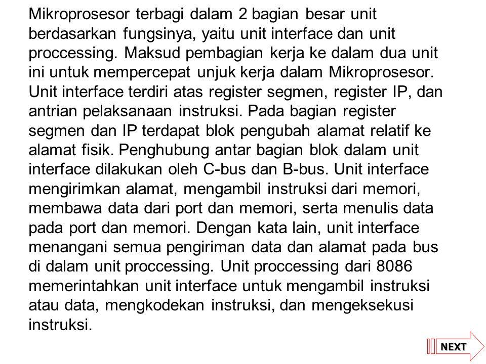 NEXT Mikroprosesor terbagi dalam 2 bagian besar unit berdasarkan fungsinya, yaitu unit interface dan unit proccessing. Maksud pembagian kerja ke dalam