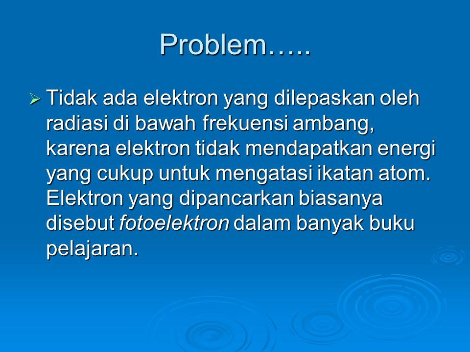 Problem…..  Tidak ada elektron yang dilepaskan oleh radiasi di bawah frekuensi ambang, karena elektron tidak mendapatkan energi yang cukup untuk meng