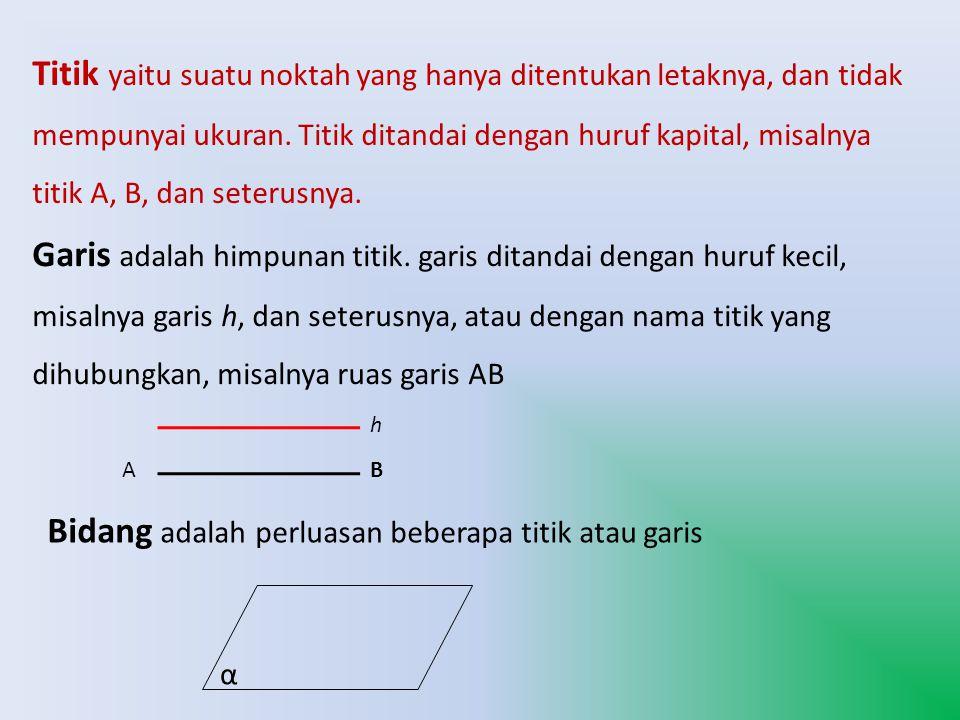 Titik yaitu suatu noktah yang hanya ditentukan letaknya, dan tidak mempunyai ukuran. Titik ditandai dengan huruf kapital, misalnya titik A, B, dan set