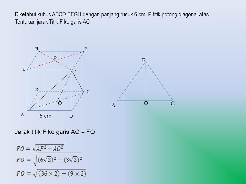 B A C G D H EF 6 cm P Diketahui kubus ABCD.EFGH dengan panjang rusuk 6 cm. P titik potong diagonal atas. Tentukan jarak Titik F ke garis AC A C F Jara