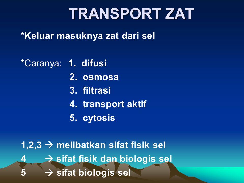 TRANSPORT ZAT *Keluar masuknya zat dari sel *Caranya: 1. difusi 2. osmosa 3. filtrasi 4. transport aktif 5. cytosis 1,2,3  melibatkan sifat fisik sel
