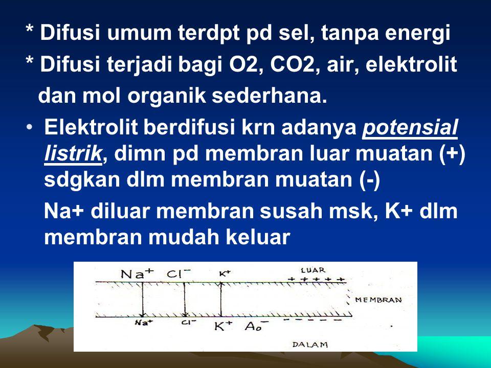 * Difusi umum terdpt pd sel, tanpa energi * Difusi terjadi bagi O2, CO2, air, elektrolit dan mol organik sederhana. Elektrolit berdifusi krn adanya po