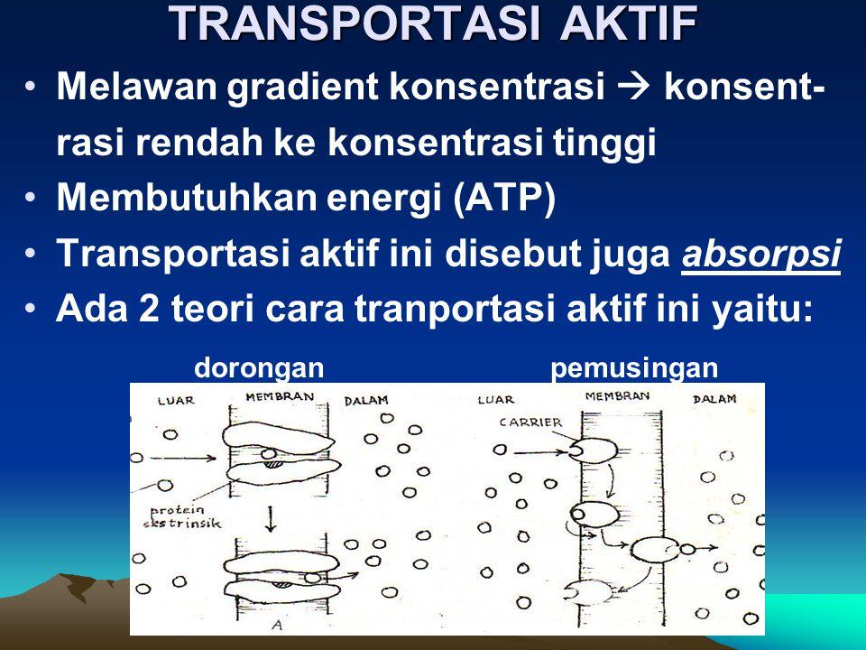 TRANSPORTASI AKTIF Melawan gradient konsentrasi  konsent- rasi rendah ke konsentrasi tinggi Membutuhkan energi (ATP) Transportasi aktif ini disebut j