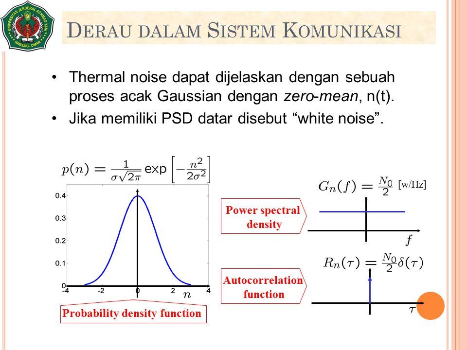"""Thermal noise dapat dijelaskan dengan sebuah proses acak Gaussian dengan zero-mean, n(t). Jika memiliki PSD datar disebut """"white noise"""". D ERAU DALAM"""