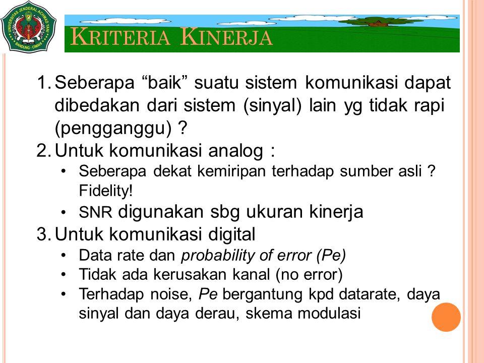 """K RITERIA K INERJA 1.Seberapa """"baik"""" suatu sistem komunikasi dapat dibedakan dari sistem (sinyal) lain yg tidak rapi (pengganggu) ? 2.Untuk komunikasi"""