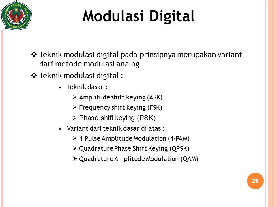 26 Modulasi Digital  Teknik modulasi digital pada prinsipnya merupakan variant dari metode modulasi analog  Teknik modulasi digital : Teknik dasar :