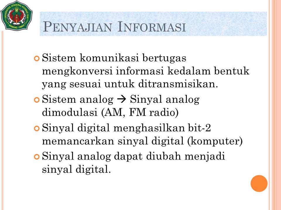 P ENYAJIAN I NFORMASI Sistem komunikasi bertugas mengkonversi informasi kedalam bentuk yang sesuai untuk ditransmisikan. Sistem analog  Sinyal analog