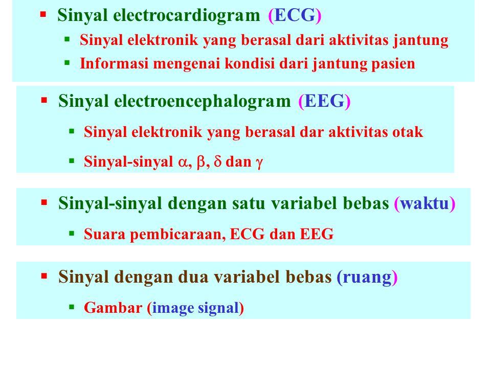  Sinyal electrocardiogram (ECG)  Sinyal elektronik yang berasal dari aktivitas jantung  Informasi mengenai kondisi dari jantung pasien  Sinyal electroencephalogram (EEG)  Sinyal elektronik yang berasal dar aktivitas otak  Sinyal-sinyal , ,  dan   Sinyal-sinyal dengan satu variabel bebas (waktu)  Suara pembicaraan, ECG dan EEG  Sinyal dengan dua variabel bebas (ruang)  Gambar (image signal)