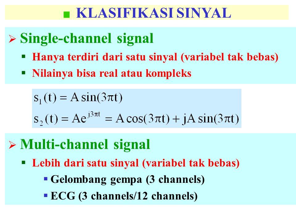 KLASIFIKASI SINYAL  Single-channel signal  Hanya terdiri dari satu sinyal (variabel tak bebas)  Nilainya bisa real atau kompleks  Multi-channel signal  Lebih dari satu sinyal (variabel tak bebas)  Gelombang gempa (3 channels)  ECG (3 channels/12 channels)