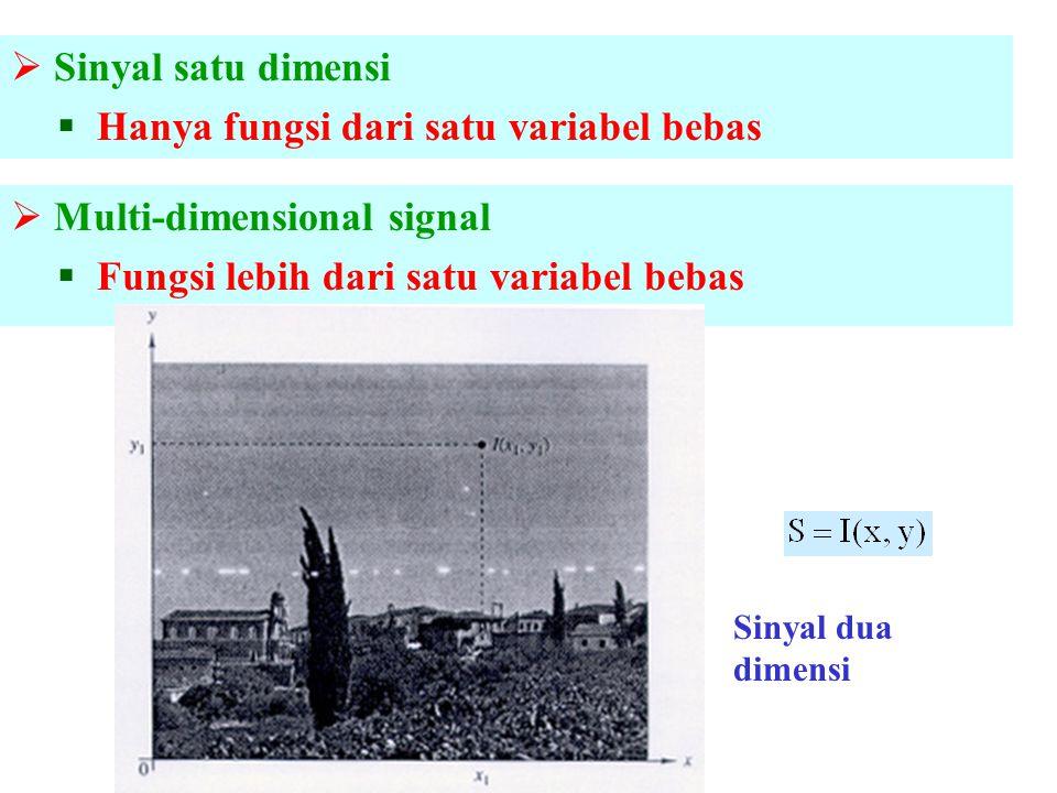  Sinyal satu dimensi  Hanya fungsi dari satu variabel bebas  Multi-dimensional signal  Fungsi lebih dari satu variabel bebas Sinyal dua dimensi