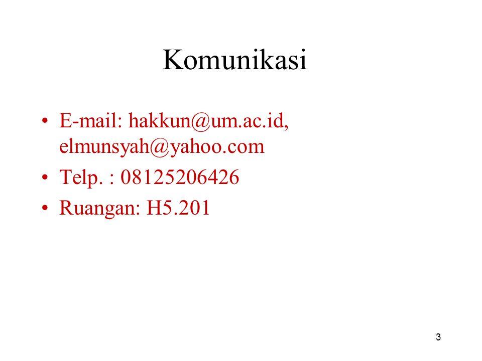 Komunikasi E-mail: hakkun@um.ac.id, elmunsyah@yahoo.com Telp. : 08125206426 Ruangan: H5.201 3