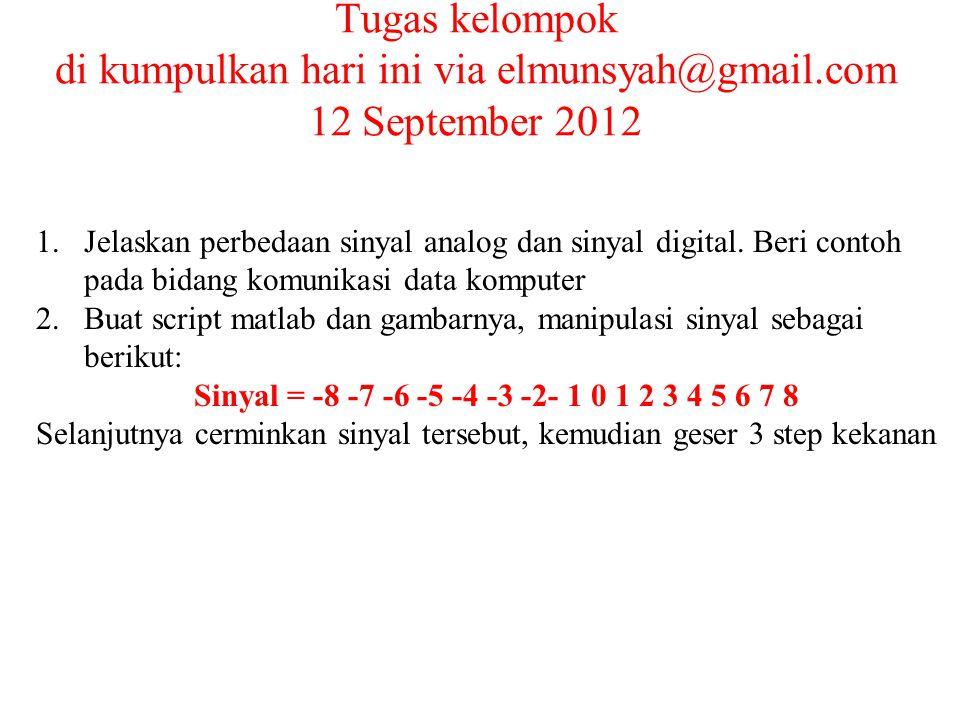 Tugas kelompok di kumpulkan hari ini via elmunsyah@gmail.com 12 September 2012 1.Jelaskan perbedaan sinyal analog dan sinyal digital.