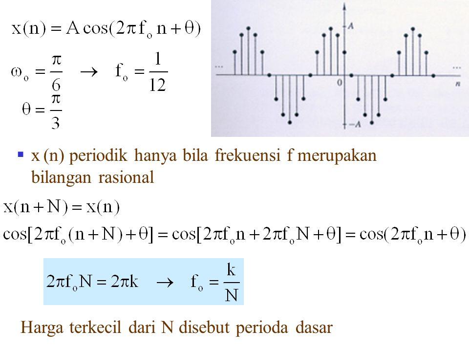  x (n) periodik hanya bila frekuensi f merupakan bilangan rasional Harga terkecil dari N disebut perioda dasar