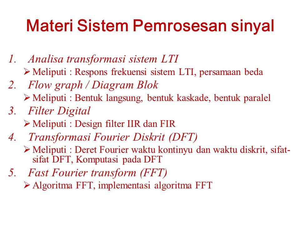 Materi Sistem Pemrosesan sinyal 1.Analisa transformasi sistem LTI  Meliputi : Respons frekuensi sistem LTI, persamaan beda 2.Flow graph / Diagram Blok  Meliputi : Bentuk langsung, bentuk kaskade, bentuk paralel 3.Filter Digital  Meliputi : Design filter IIR dan FIR 4.Transformasi Fourier Diskrit (DFT)  Meliputi : Deret Fourier waktu kontinyu dan waktu diskrit, sifat- sifat DFT, Komputasi pada DFT 5.Fast Fourier transform (FFT)  Algoritma FFT, implementasi algoritma FFT