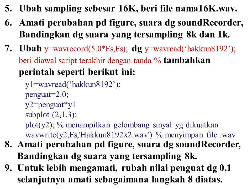 5.Ubah sampling sebesar 16K, beri file nama16K.wav.