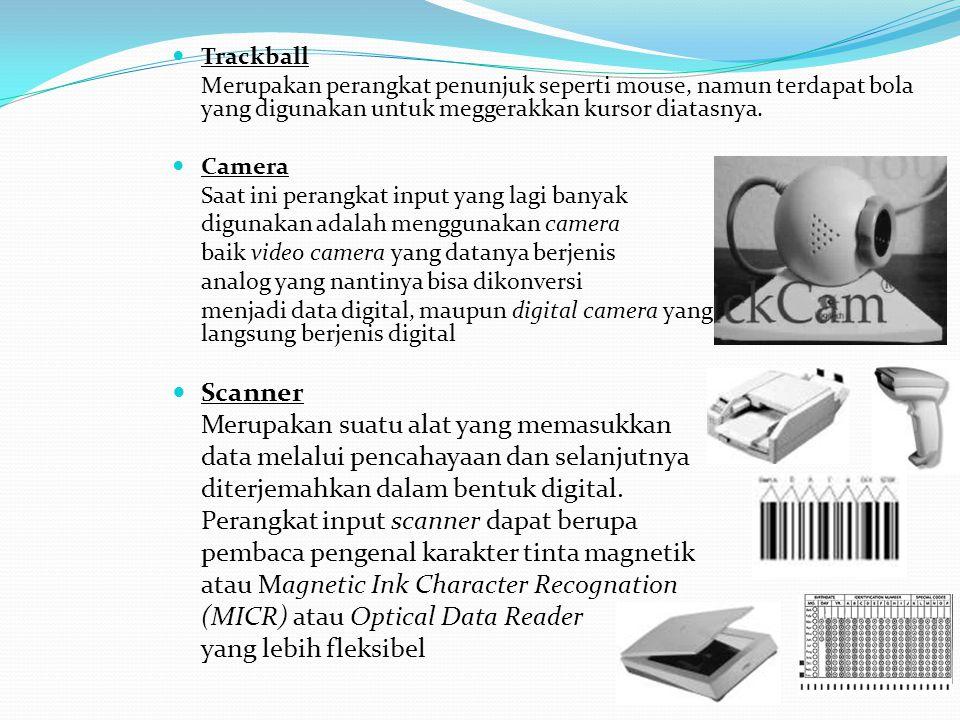 Trackball Merupakan perangkat penunjuk seperti mouse, namun terdapat bola yang digunakan untuk meggerakkan kursor diatasnya. Camera Saat ini perangkat