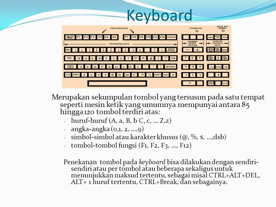 Keyboard Merupakan sekumpulan tombol yang tersusun pada satu tempat seperti mesin ketik yang umumnya mempunyai antara 85 hingga 120 tombol terdiri ata