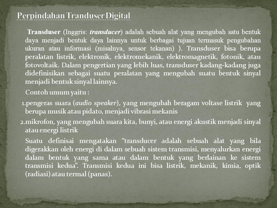Transduser (Inggris: transducer) adalah sebuah alat yang mengubah satu bentuk daya menjadi bentuk daya lainnya untuk berbagai tujuan termasuk pengubah