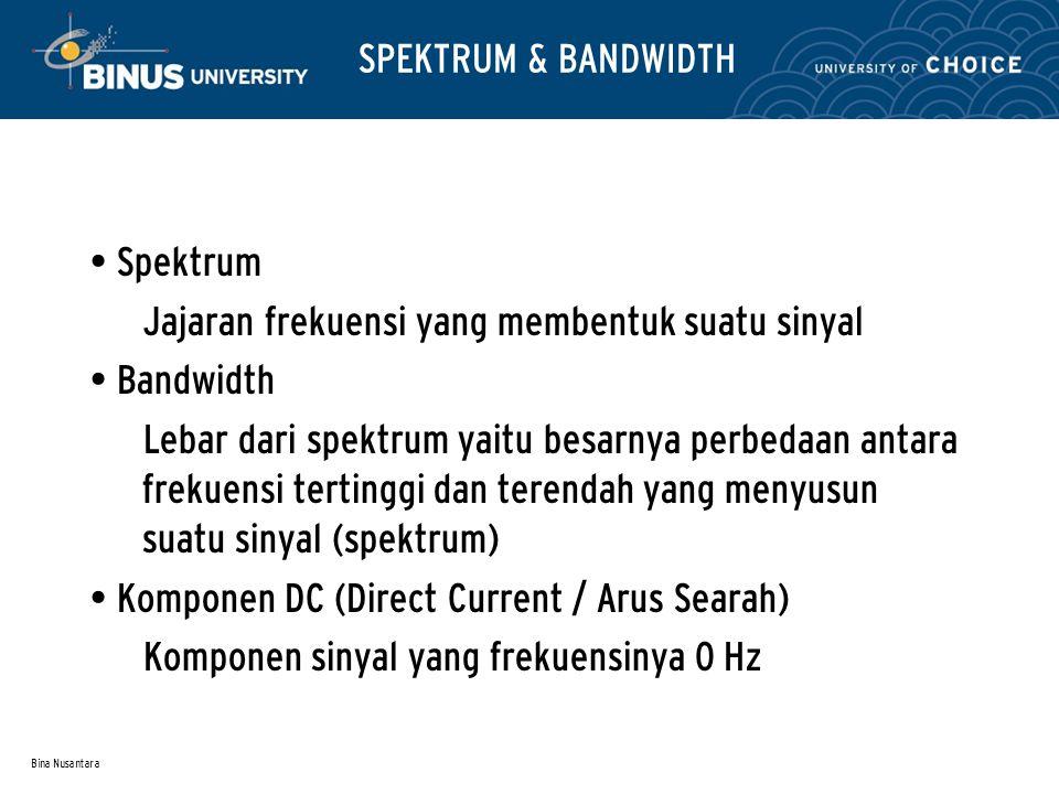 Bina Nusantara SPEKTRUM & BANDWIDTH Spektrum Jajaran frekuensi yang membentuk suatu sinyal Bandwidth Lebar dari spektrum yaitu besarnya perbedaan anta