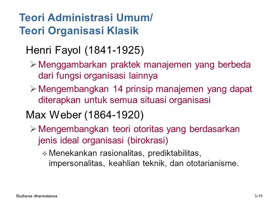 Budiarsa dharmatanna3–11 Henri Fayol (1841-1925)  Menggambarkan praktek manajemen yang berbeda dari fungsi organisasi lainnya  Mengembangkan 14 prin