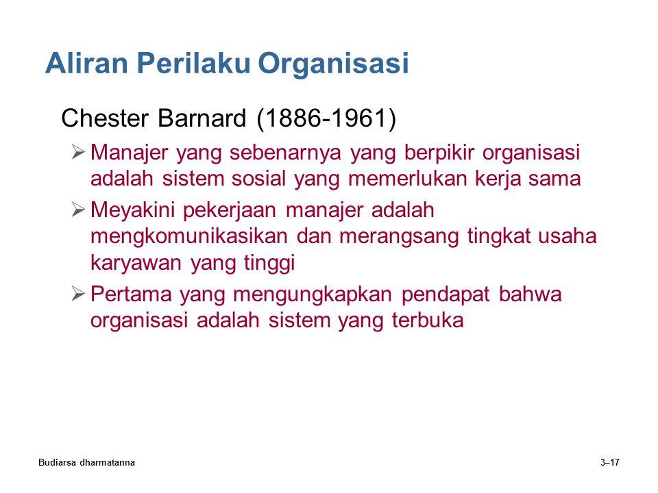 Budiarsa dharmatanna3–17 Aliran Perilaku Organisasi Chester Barnard (1886-1961)  Manajer yang sebenarnya yang berpikir organisasi adalah sistem sosia