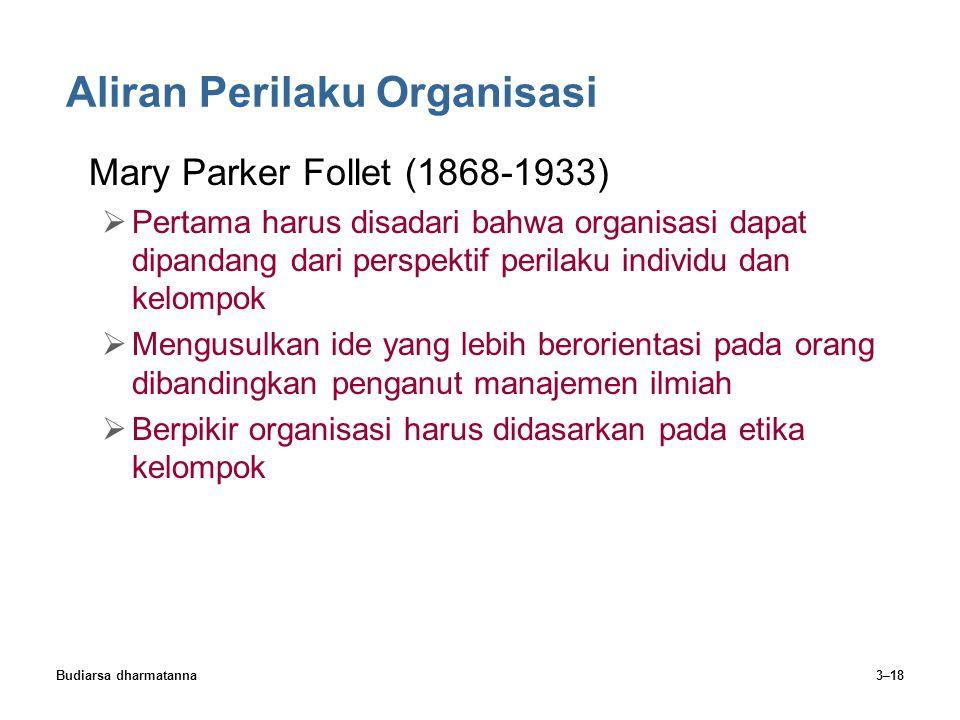 Budiarsa dharmatanna3–18 Aliran Perilaku Organisasi Mary Parker Follet (1868-1933)  Pertama harus disadari bahwa organisasi dapat dipandang dari pers