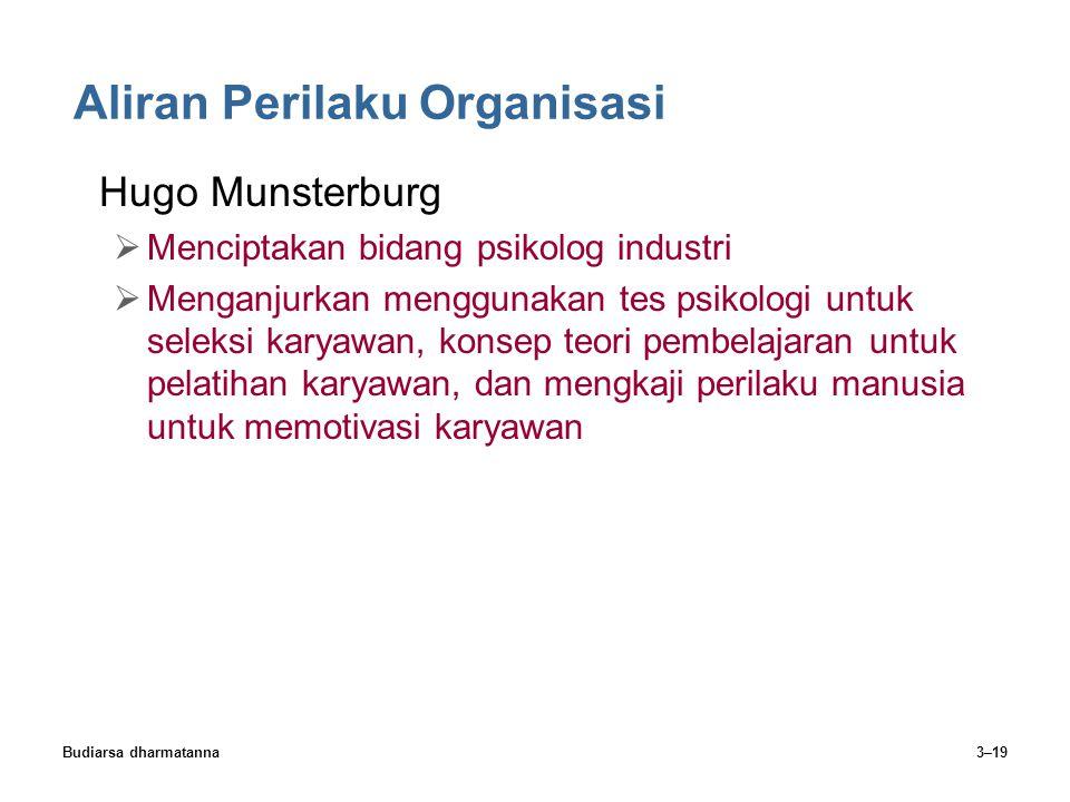 Budiarsa dharmatanna3–19 Aliran Perilaku Organisasi Hugo Munsterburg  Menciptakan bidang psikolog industri  Menganjurkan menggunakan tes psikologi u